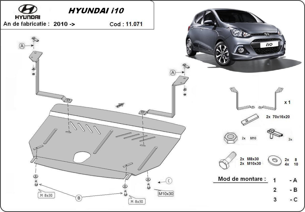 cache de protection m tallique sous moteur hyundai i10. Black Bedroom Furniture Sets. Home Design Ideas