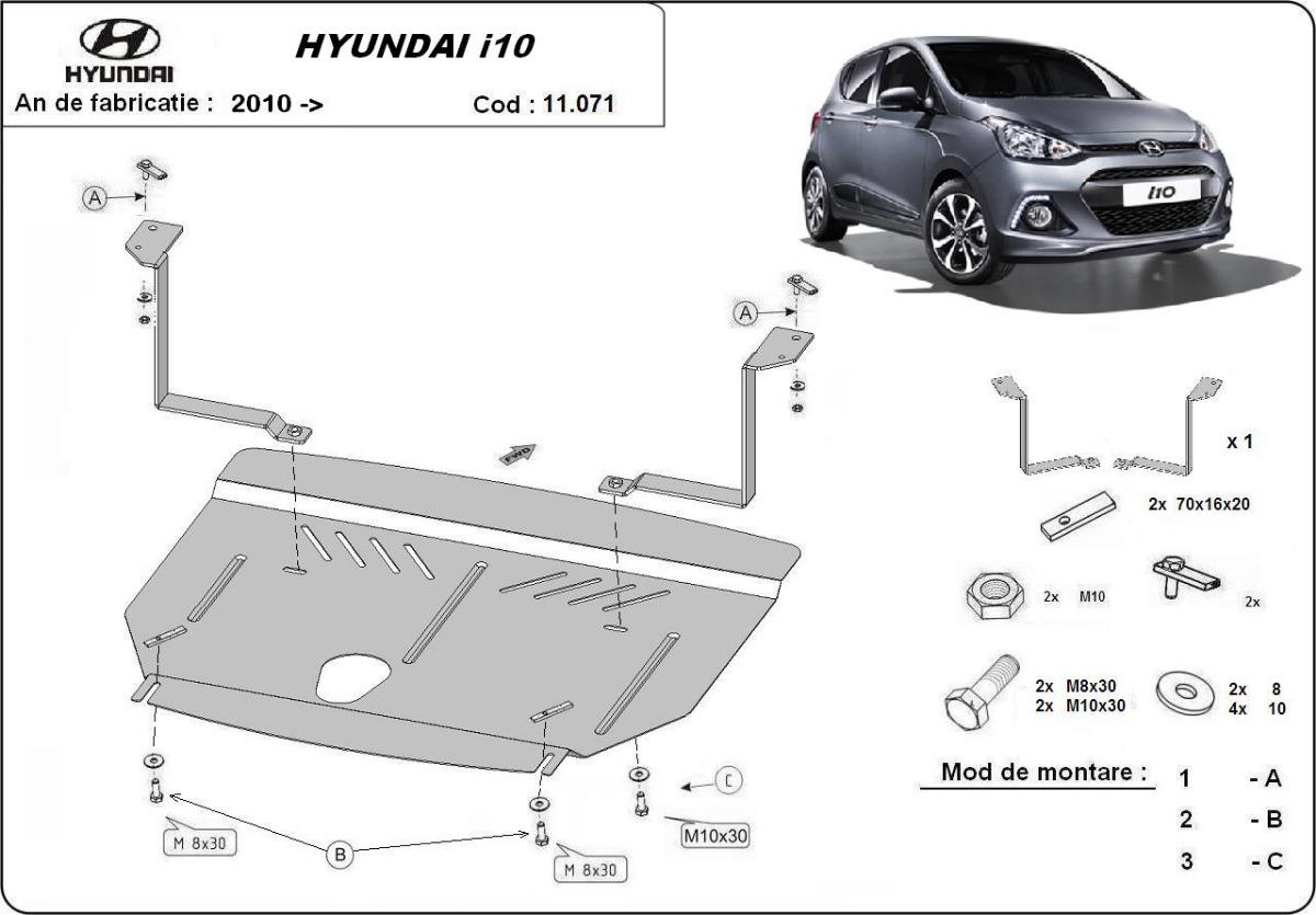 cache de protection m tallique sous moteur hyundai i10. Black Bedroom Furniture Sets. Home Design Ideas