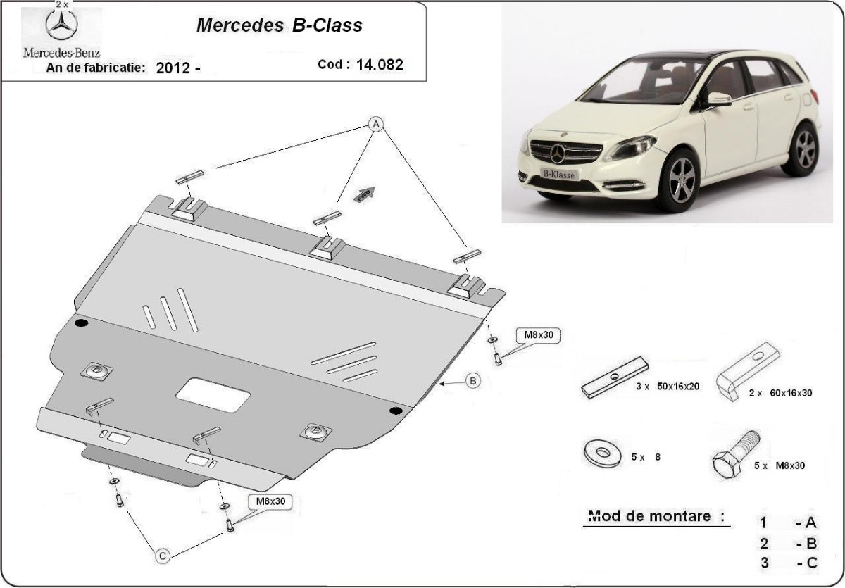 cache de protection m tallique sous moteur mercedes b class w246. Black Bedroom Furniture Sets. Home Design Ideas