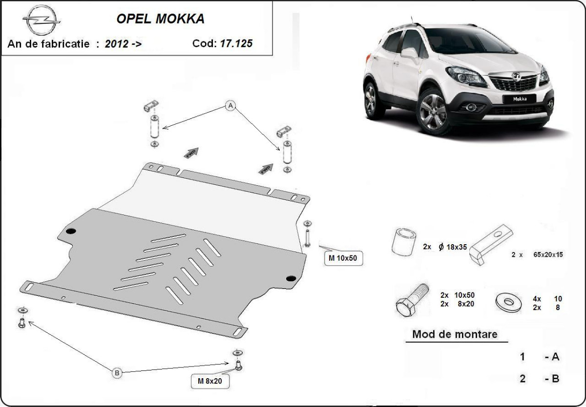 cache de protection m tallique sous moteur opel mokka. Black Bedroom Furniture Sets. Home Design Ideas