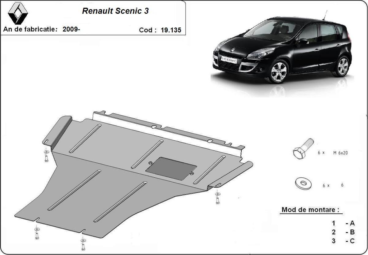 cache de protection m tallique sous moteur renault scenic 3. Black Bedroom Furniture Sets. Home Design Ideas