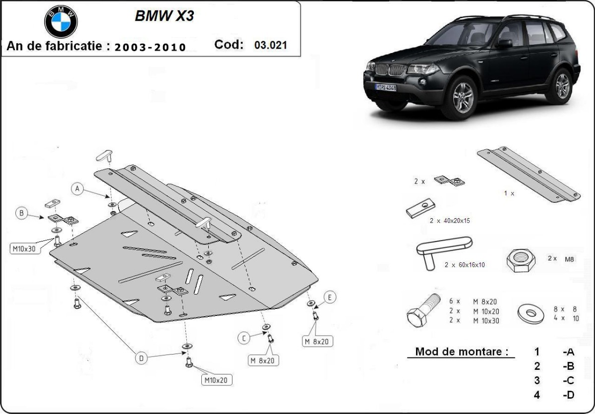 cache de protection m tallique sous moteur bmw x3. Black Bedroom Furniture Sets. Home Design Ideas