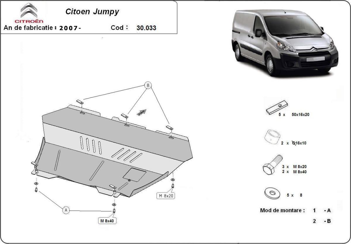 cache de protection m tallique sous moteur et du bo te de vitesse citroen jumpy. Black Bedroom Furniture Sets. Home Design Ideas