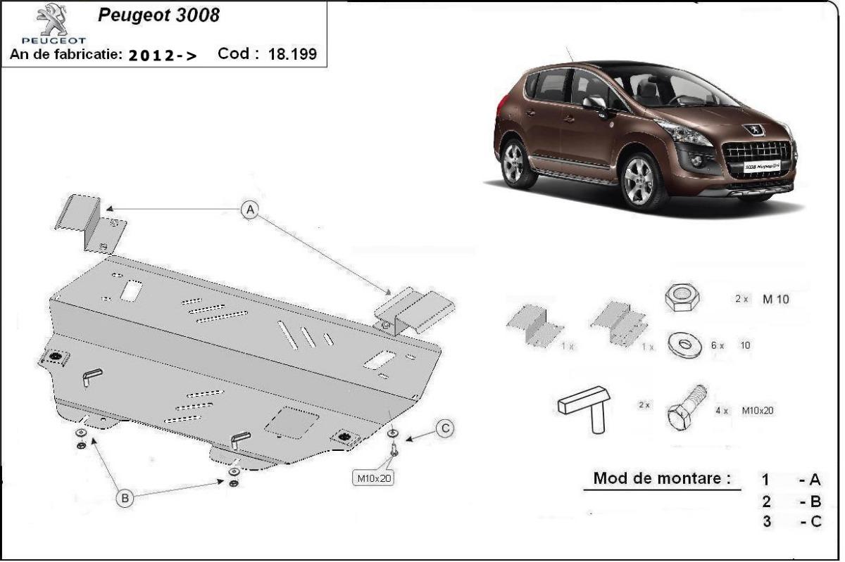 cache de protection m tallique sous moteur et du bo te de vitesse peugeot 3008. Black Bedroom Furniture Sets. Home Design Ideas