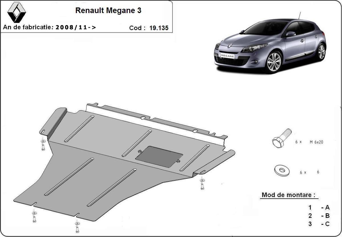 cache de protection m tallique sous moteur et du bo te de vitesse renault megane 3. Black Bedroom Furniture Sets. Home Design Ideas