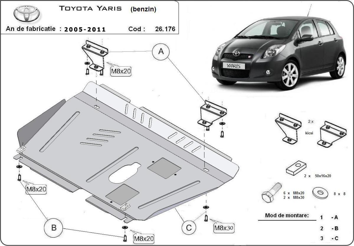 cache de protection m tallique sous moteur toyota yaris essence. Black Bedroom Furniture Sets. Home Design Ideas