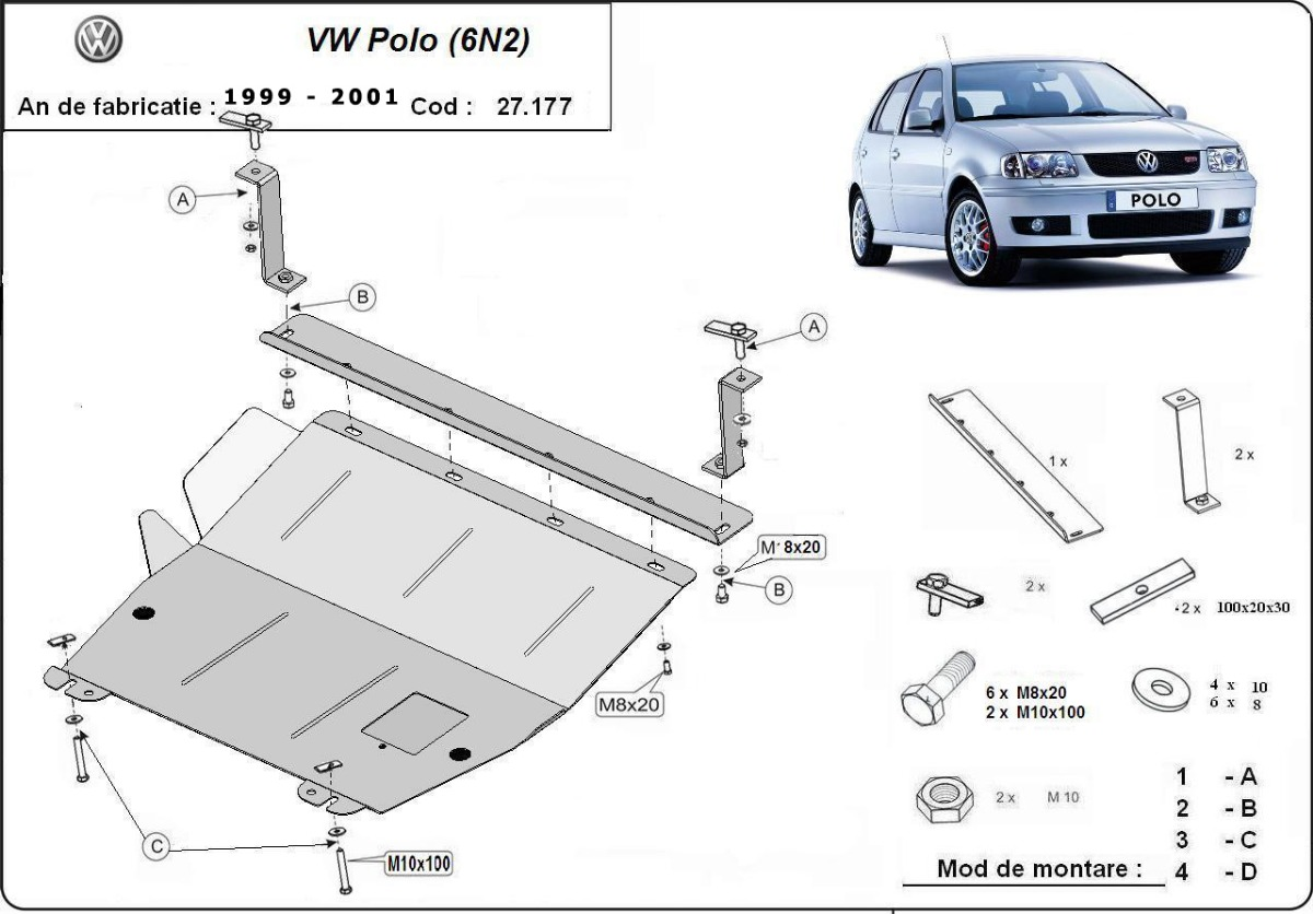 cache de protection m tallique sous moteur et du bo te de vitesse vw polo 6n2. Black Bedroom Furniture Sets. Home Design Ideas