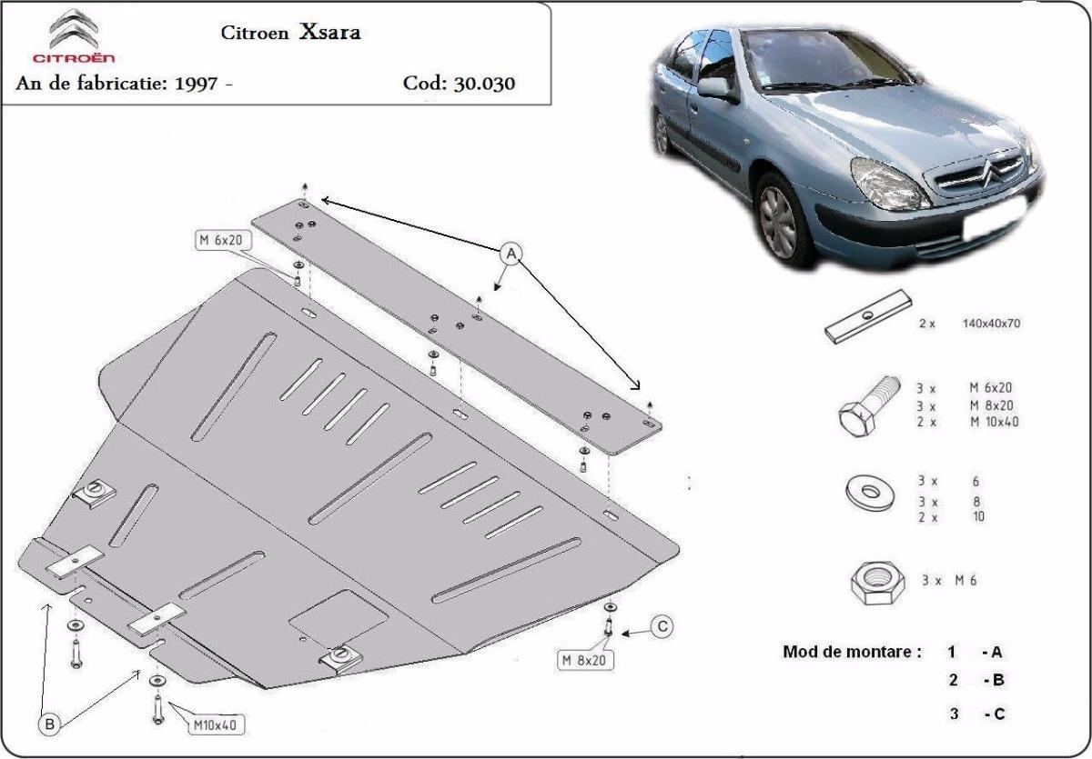 cache de protection m tallique sous moteur et du bo te de vitesse citroen xsara. Black Bedroom Furniture Sets. Home Design Ideas