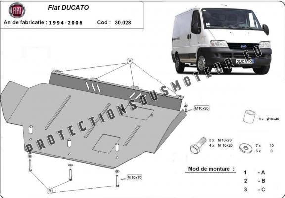 cache de protection m tallique sous moteur fiat ducato. Black Bedroom Furniture Sets. Home Design Ideas