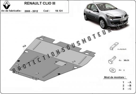 protection m tallique cache sous moteur renault clio. Black Bedroom Furniture Sets. Home Design Ideas