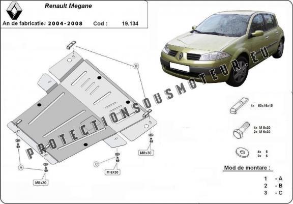 Protection métallique cache sous moteur Renault Megane