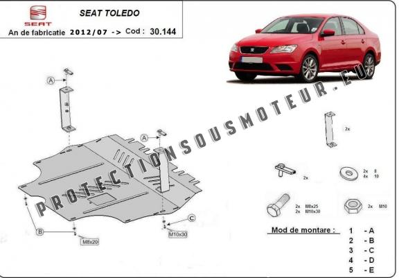 cache de protection m tallique sous moteur seat toledo. Black Bedroom Furniture Sets. Home Design Ideas