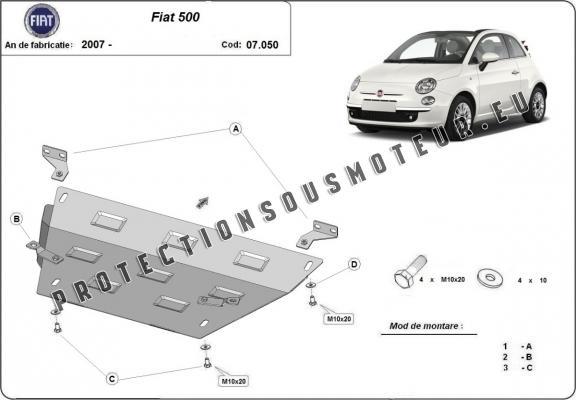 protection sous moteur et de la bo te de vitesse fiat 500. Black Bedroom Furniture Sets. Home Design Ideas